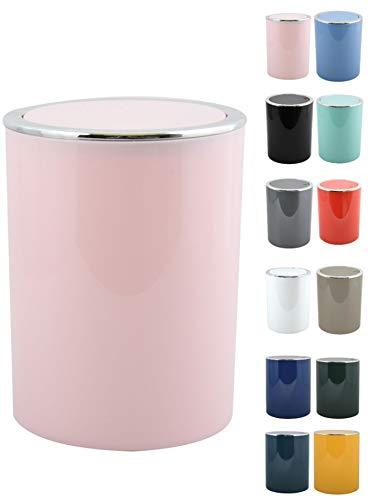 MSV Bad Serie Aspen Design Kosmetikeimer Bad Treteimer Schwingdeckeleimer Abfallbehälter mit Schwingdeckel 6 Liter (ØxH): ca. 18,5 x 26 cm Pastell Rosa