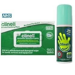 Clinell Combo Deal - Hand Sanitising Wipes (Pack of 200) & 60ml Spray from