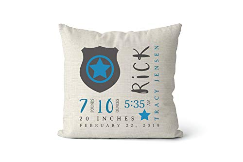 43LenaJon Cotton Linen Pillow Covers for Sofa Police Badge Birth Stats Pillow Personalized Birth Announcement Baby Present Police Nursery Law Enforcement First Responder cop 18x18 Inch