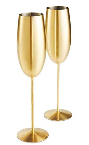 Juego de 2 copas de champán de acero inoxidable, irrompibles de 200 m