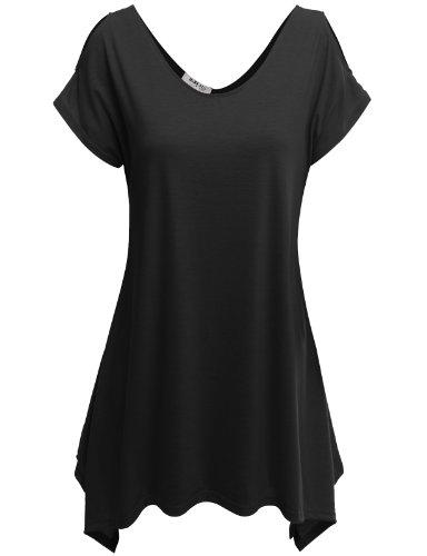 Doublju Womens Short Sleeve Cut-Out Shoulder Tunic Blouse Top BLACK X-LARGE