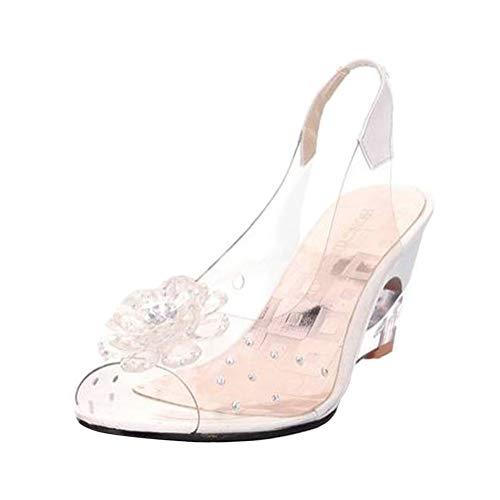 Minetom Sandalias Mujer Cuña Verano Plataforma Punta Abierta Flor Zapatos De Tacón Alto De Playa Fiesta Transparentes Sandalias De Cristal Blanco 38 EU