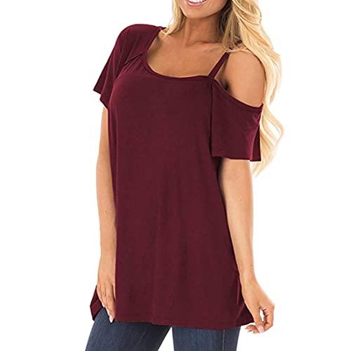 DOLAA Blusa con Hombros Descubiertos para Mujer Blusa Suelta Trenzada Informal de Verano Cuello Redondo con Hombros Descubiertos Blusa de Color sólido Blusa de Manga Corta Blusa Informal Camiseta