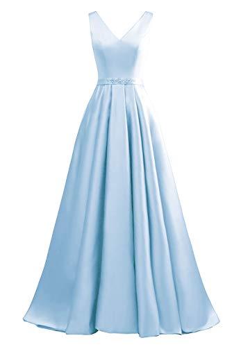 yinyyinhs Damen V-Ausschnitt Ballkleider Eine Linie Lange Perlen Formelle Abendkleider mit Taschen Größe 48 Himmel Blau