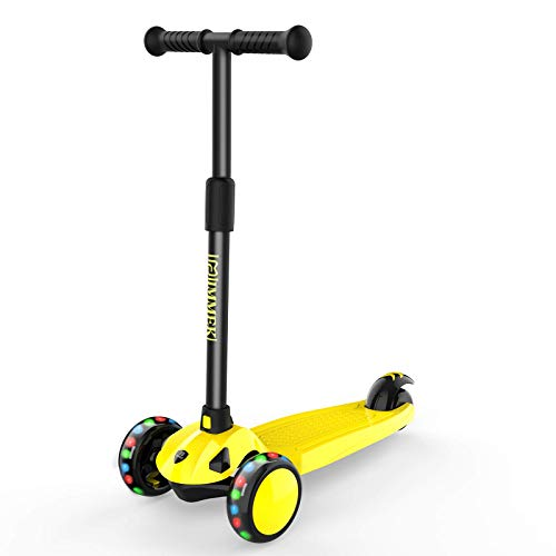 IMMEK Monopattino per Bambini, Monopattino a 3 Ruote con Ruote Lampeggianti, Manubrio Regolabile Scooter per Ragazze e Ragazzi dai 2 agli 10 Anni-Giallo