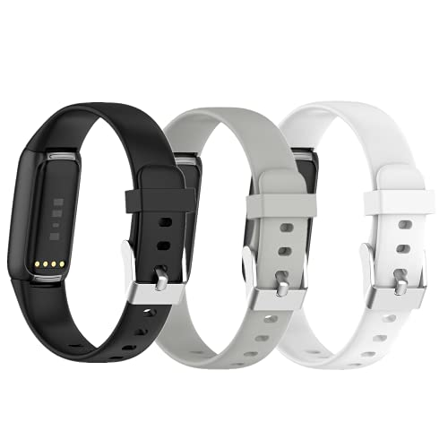 WEINISITE Correa para Fitbit Luxe,Two Size S and L Bands Silicona Repuesto Pulsera para Fitbit Luxe Sport Fitness Tracker (Negro + Gris + Blanco, L)