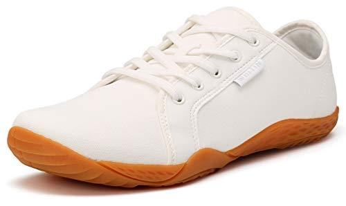 WHITIN Damen Canvas Sneaker Barfussschuhe Traillaufschuh Barfuss Schuhe Barfußschuhe Barfuß Barfußschuh Trekkingschuhe Minimalschuhe Laufschuhe für Frauen Hallenschuhe Outdoor Weiß gr 39 EU