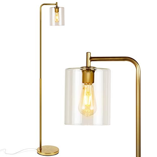 Brightech Elizabeth Industrial Floor Lamp with Glass Shade & Edison Bulb - Indoor Pole Light to Match Living Room or Bedroom in Farmhouse, Vintage, or...