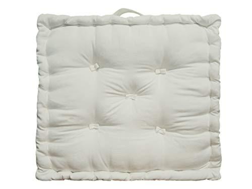 Tiny Break - Cojín de suelo de algodón, 50 x 50 x 10 cm, 1 unidad, crema, 50 x...