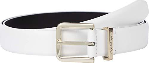 Calvin Klein Metal Loop Belt 25MM Cintura, CK Bianco, 90 cm Donna