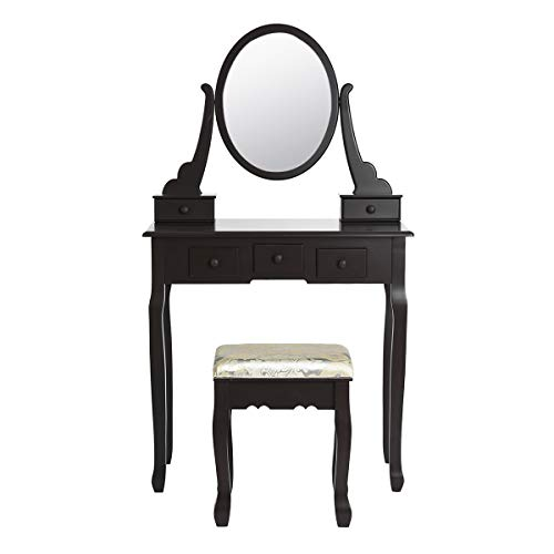 FITATHOME dressoir tafel met spiegel en 5 lades & opbergvakken make-up tafel krukje set dressoir ijdelheid gepauzeerde kruk slaapkamer meubels