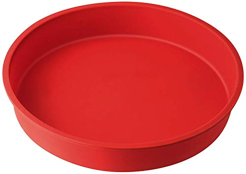 Dr. Oetker Flexxibel Horno Redondo, Molde Tartas y Bizcochos de Silicona Platinium roja Antiadherente, fácil de desmoldar, Ø26x4,5cm, 1ud Liso, Rojo