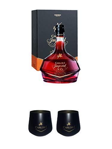 Carlos I Imperial 15 Jahre spanischer Brandy in GP 0,7 Liter + Carlos I Glas -schwarz- + Carlos I Glas -schwarz-