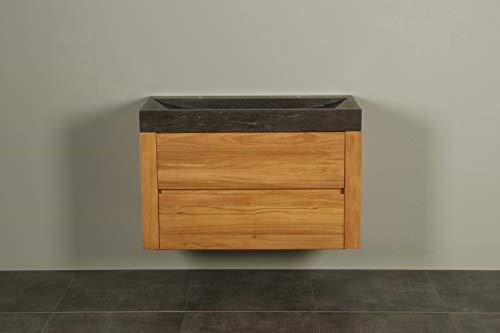 Zwevend badmeubel hout Ambang 100 cm hardsteen 2k