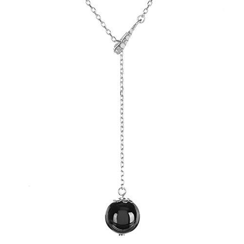 Mes-bijoux.fr halsketting van zwart keramiek, zilver en zirkonia, hanger met parel