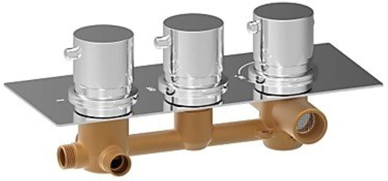 SYX ChromeH Round Triple Handle Thermostatic Rainfall Shower Mixer Valve