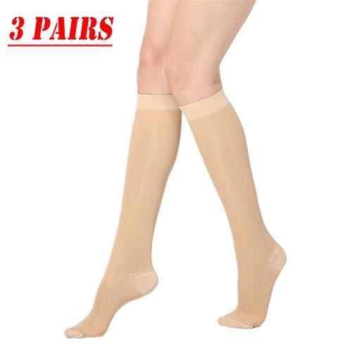 Dr.CURVY 3 Pares Medias de Compresión Calcetines de Compresión Varices Running Recuperación Muscular Mejorar Circulación Sanguínea para Hombres y Mujeres