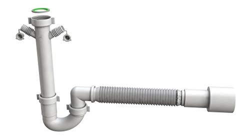 Siphonly® Flexibler Spültischsiphon | Ablaufgarnitur für Küche | Geruchsverschluss mit flexiblem Abgangsrohr | 6/4' x Ø 40/50 mm | inkl. 2 Geräteanschlüsse für Waschmaschine/Spülmaschine