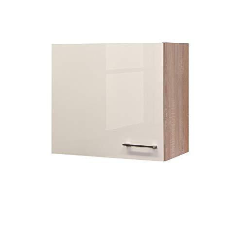 Flex-Well Hängeschrank NEPAL - Küchenschrank - 1-türig - Breite 60 cm - Creme glänzend/Eiche Sonoma