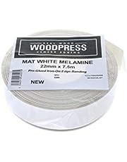 22mm Mat Witte Melamine Kantenband, Hoogwaardige Voorgelijmde Fineertape - rol van 7,5m - Opstrijkbaar voor Eenvoudige Doe-Het-Zelftoepassing - Bedekt de Rand van een Standaard MDF-paneel