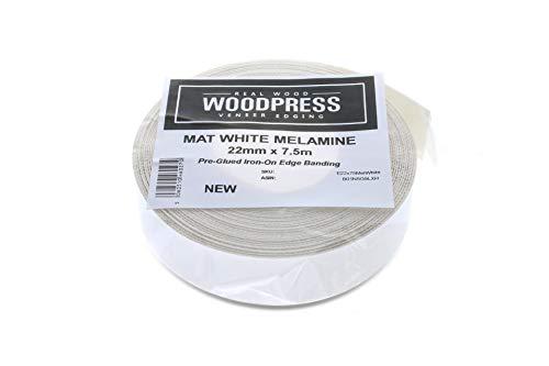 Bordo in melamina bianca da 22 mm, nastro adesivo pre-incollato di alta qualità – rotolo da 7,5 m – termoadesivo per una facile applicazione fai da te – coprirà il bordo di un pannello in MDF standard