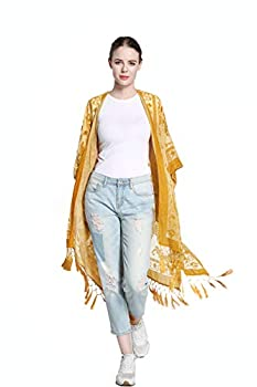 SERECA Women s Burnout Velvet Kimono Long Cardigan Cover Up with Tassel Gold