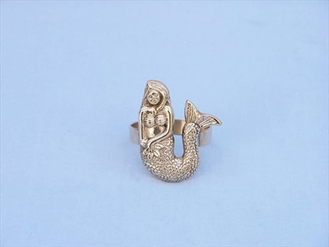 Handcrafted Model Ships NR 28 BR Brass Mermaid Napkin Ring 2 In Wedding Decor Decorative Accent