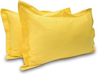 Eyelet Home Décor Hospitality Grade Ultra Comfort 800 Thread Count Egyptian Cotton 2 Piece Pillow Sham Set King Size Yellow Soild