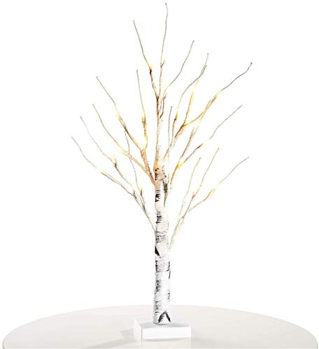 Easter Tree with Lights Mini Birch Twig Tree Ornament with 24 Warm White LEDs Battery Operated Tabletop Decoration for Easter Home Party Decor 60cm