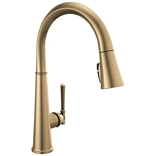 Delta Faucet Emmeline Single-Handle Kitchen Sink Faucet with Pull Down Sprayer, ShieldSpray Technology and Magnetic Docking Spray Head, Lumicoat Champagne Bronze 9182-CZ-PR-DST