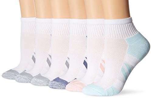Amazon Essentials Women's 6-Pack Performance Cotton Cushioned Athletic Ankle Socks, White, Shoe Size: 6-9