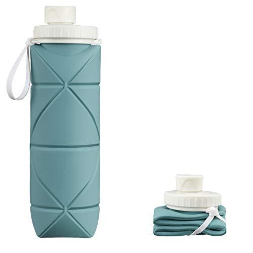 INTEREPRO Botella de agua plegable de silicona, reutilizable, antigoteo, 600 ml, portátil, para viajes, deportes y exteriores (eucalipto verde)