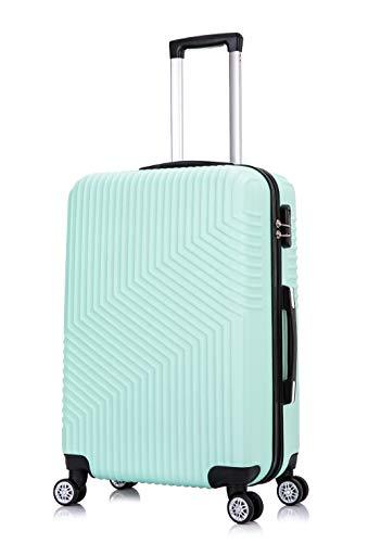 Frentree Hartschalen-Koffer 02   Trolley Reisekoffer Handgepäck mit 4 Rollen M-L-XL-Set zum Auswahl, Koffer Standard Farbe:Türkis(L. Green), Koffer Standard Größe:XL(77CM)