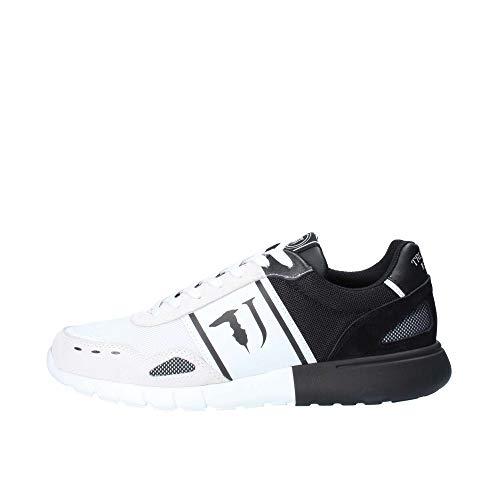 Trussardi Jeans Scarpe ginnastica sport tempo libero sneaker uomo suola in gomma articolo 77A00189 RUNNER MESH LOGO, W601 Bianco/Nero - White/Black, Taglia 44