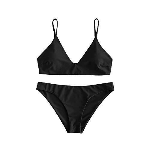 ZAFUL Damen Spaghetti-Träger V-Neck Gepolstert Bikini Set Badeanzug (Schwarz, S)
