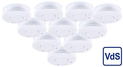 PEARL Rauchmelder VDs: Fotoelektrischer Rauchwarnmelder, VDs-Zertifiziert, 10er-Set (Fotoelektrischer Rauchmelder)