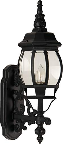 """Craftmade Z320-TB French Style Outdoor Wall Mount Sconce Lighting, 1-Light, 100 Watts, Textured Matte Black (7""""W x 22""""H)"""