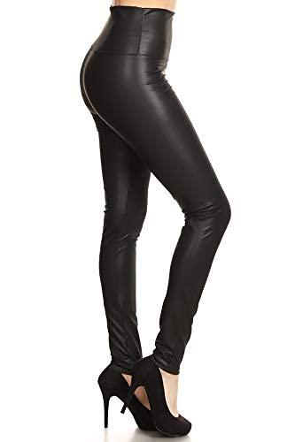 FXLD-Black-XL Faux Leather High Waist Stretchy Leggings-Black, XL
