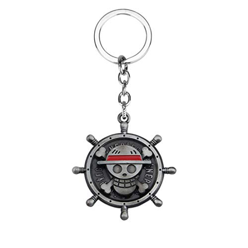 Hot Japan Anime One Piece Keychain Pirate Skull Key Chain Cosplay (Silver)