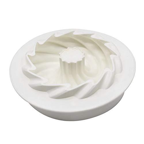 Stampo Ciambella Silicone Stampo per Torta in Silicone a Spirale Torta in Silicone Antiaderente Scanalato Stampo per Brioche in Silicone per Fare Pane Mousse Torte Pane Biscotti Bianco