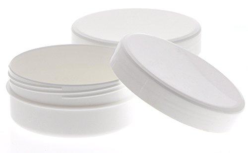 Kosmetex Leere Flach Dose weiß, 100gr / 125ml, flache Schraubdose, Kunststoff-Dose, Cremedose, Kosmetikdose, 6 Stück