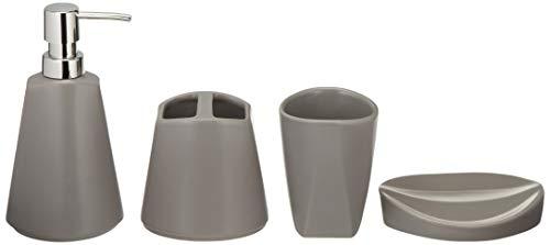 Amazon Basics - Set di accessori da bagno in ceramica, 4 pezzi - Grigio