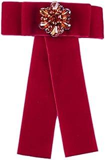 CBCJU Joyas de Estrellas de Moda Retro con Pajarita de Diamantes Flor Broche de Terciopelo Dorado Pin 17 * 12.5cm