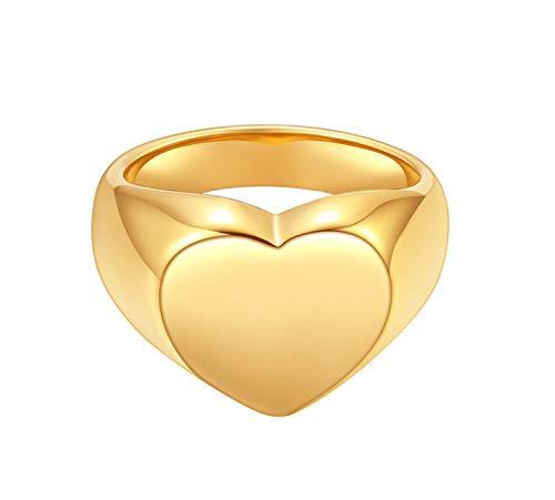 Happiness Boutique Anillo de corazón grueso para mujer, anillo de sello de color dorado, joyería de acero inoxidable