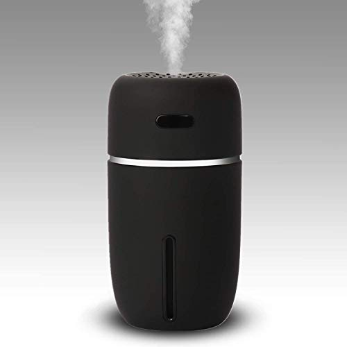 NovoLido Mini USB Humidifier with 7-Colors Light, Two Spray Mist, Auto Shut-Off, Super Quiet, Small Personal Humidifier and Portable Desktop Humidifier for Travel Office Car Baby Bedroom (200ml Black)