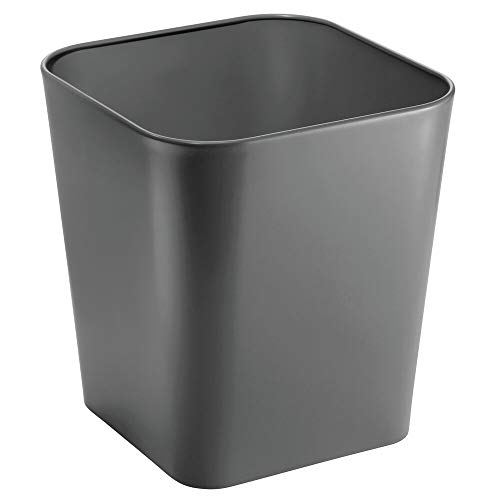 mDesign Decorative Metal Square Small Trash Can Wastebasket, Garbage Container Bin - for Bathrooms, Powder Rooms, Kitchens, Home Offices - 2 Pack - Slate Gray