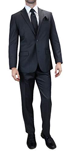 Men's 2PC Charcoal Grey Business Formal Suit Modern Fit 2 Button w Jacket & Pant