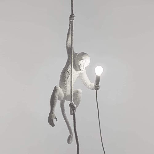Seletti Luminaire suspendu, Lampe de suspension LED singe, Résine, blanc, 37 x 37 x 76,5 cm