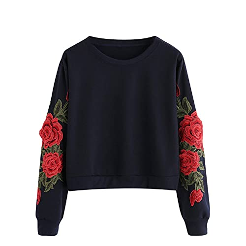 Jghsxdhg Women Rose Embroidery Long Sleeves Sweatshirt,Crew Neck Top,Casual Tshirt Blouse Hooded Sweatshirt Coat Winter Clothes Parka