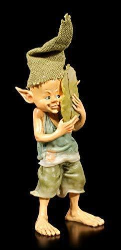 Pixie Kobold Figur versteckt Sich hinter Blatt | Fantasy-Figur